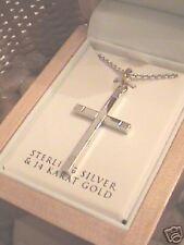 Krementz Sterling Silver &14Kt Gold Cross & chain Msrp $269.00