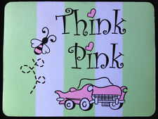 """Think Pink"" Mouse Pad Pink Hot Rod Car & Bumble Bee Perfect Mary Kay Consultant"