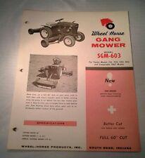 WHEEL HORSE Dealer Spec Sheet GANG MOWER SGM-603 Lawn Tractor 1963 701+ ORIGINAL