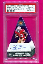 2012 PANINI CHOICE AWARD BRANDON JACOBS AUTOGRAPH PURPLE #10/10 PSA 10