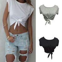 Women Summer Tops Knotted Tie Front Crop Tops Cropped T Shirt Casual Blouse