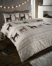 100 Flannelette Cotton Taupe & Beige Snow Flake Stag Double Duvet Cover Bed Set