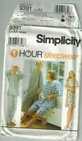 Simplicity 9391 Unisex Pajamas Night Shirt Gown Sizes XS-Medium 1 Hour Uncut FF