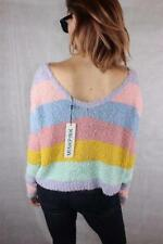 Acrylic Boat Neck Striped Jumpers & Cardigans for Women