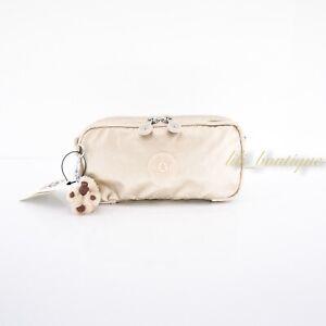 NWT New Kipling AC7373 Chap Pen Case Makeup Accessory Pouch Starry Gold Metallic