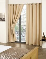 THERMAL RING TOP EYELET BLACKOUT PAIR CURTAINS READY MADE FULLY LINED TIEBACKS