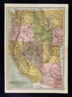 1876 Bartholomew Map - US West California Nevada Utah Idaho Oregon Washington AZ