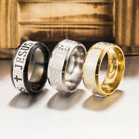 8mm Jesus Christian Cross Prayer Band Ring Stainless Steel Titanium Men Women