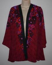 BOB MACKIE Flared Romantic Floral Print Georgette Cardigan Size XXS Cranberry