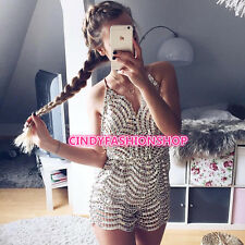 USA Women Backless Shining Sequins Embroidery Beading Short Rompers Jumpsuit