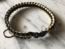 "Dog Collar 550 Paracord 15 1/2""Black/Gold Plastic Clip and two welded D-Rings."