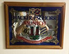 Vintage Hacker-Pschorr Munich Beer Mirror wooden frame 14 x 18