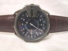 Diesel Master Chief Blue Dial Brown Leather Strap DZ1618 USED,   (236)
