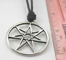 Waxed Cotton Cord Necklace Choker Heptagram Septagram Seven-Point Star Pendant