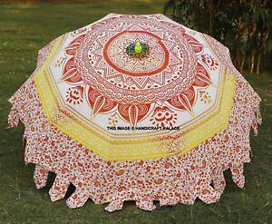 Ombre Mandala Patio Sun Shade Parasol Cotton Large Beach Garden Umbrella Indian