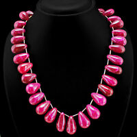 TRULY AMAZING QUALITY 450.00 CTS EARTH MINED RED RUBY BEADS NECKLACE STRAND