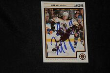 MILAN LUCIC 2012-13 PANINI SCORE SIGNED AUTOGRAPHED CARD #61 BOSTON BRUINS