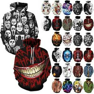 Men Women 3D Hoodie Sweatshirt Skull Printed Pullover Hooded Top Winter Jumper