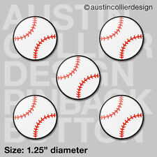 "(5) BASEBALL 1.25"" pinback buttons / badges - team gift pins"