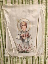 Vintage handpainted Scandinavian Child Angel w/lamb on fabric -signed Fodor Teri