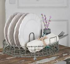 Vintage Farmhouse Style Round Plate Display Dish Rack
