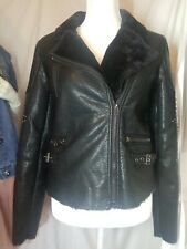 Buffalo David Bitton Black Faux Leather Faux Fur Lined Moto Jacket With Studs Sm