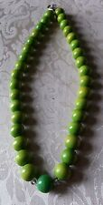 Retro Green Wood/Plastic Beaded Necklace St. Patrick'S Day