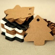 50pcs Kraft Paper Christmas Tree Hang Tags Christmas Party Decor Gift Tags Cards