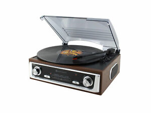 soundmaster PL196H Retro FM Radio Record Player With Built in Speakers