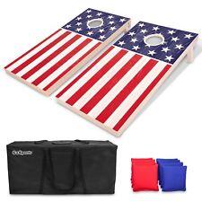 GoSports Regulation Size Solid Wood Cornhole Set - American Flag USA Game Boards