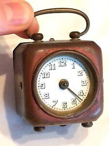 RARE Early Antique Miniature Carriage Military? Alarm Clock. Enamel Dial