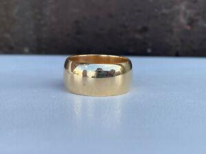 14K YELLOW GOLD 8.5MM HALF ROUND WEDDING BAND SIZE 5.75 6.3 GRAMS