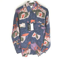 GOOUCH Mens Small Long Sleeve Shirt Silk Button Up 90s Abstract Art VTG NEW NWT