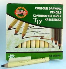 Kredka czeska 12 szt black contour drawing pencils konturowka czarna makijaz oko