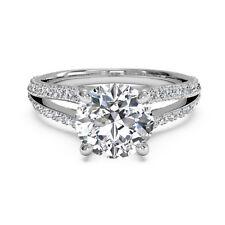 14K Solid White Gold Rings 1.10 Ct Round Cut Diamond Engagement Ring Size M O