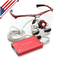 USA Dental Loupes 3.5X 420mm Surgical Medical Binocular LED Head Light Lamp--Red