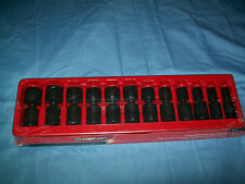 "NEW Snap-on™ 1/2"" drive 1/2"" to 1 3/16"" 6-point Impact Swivel Socket Set 312IPL"