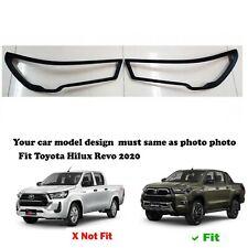 Fit Toyota New Hilux Revo 2020 4WD Matte Black Head Lamp Cover Trim 1 Pair