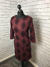 White Stuff Red Wine Coloured Dress With Black Velvet Embellishment Size 8