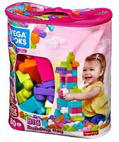 Mega Bloks First Builders Big 80pc Kid Blocks Set Toy Lot Play Figures Girl Pink