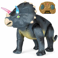 Kids Remote Control Walking Dinosaur Triceratops RC Toy Robot Lights Sound Roar
