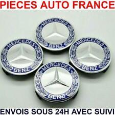 4 Caches Moyeu Mercedes 75 mm bleu gris  Logo embleme Jante Centres De Roue