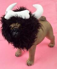 Bone Viking Warrior Horn Headpiece Costume For Dogs Realistic Plush Fuzzy Mane
