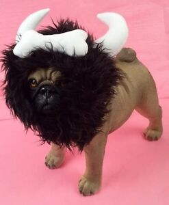 Bone Viking Warrior Horn Headpiece Costume For Dogs Realistic Plush Fuzzy Mane
