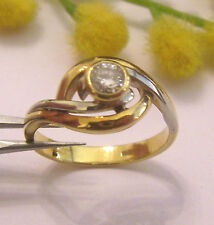 SOLITARIO IN ORO GIALLO BIANCO 18KT E DIAMANTE  -18KT SOLID GOLD DIAMOND RING