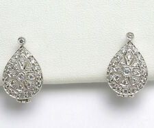 Vintage 14k white gold Pave Earrings Victorian Style 1.5 carat leverback