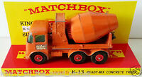 MATCHBOX Diecast KING SIZE K-13 READY-MIX CEMENT TRUCK on Custom Display Stand
