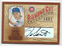 2002 Donruss baseball card signed autographed Ron Santo, Chicago Cubs 128/500