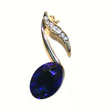 Blue Rhinestone Crystal Music Note BROOCH Pin. NEW