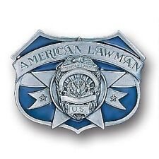 AMERICAN LAWMAN 3D SCULPTED PEWTER BELT BUCKLE